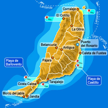 Map of Fuerteventura, Caleta, Corralejo, north and south, El Cotillo, Morro Jable